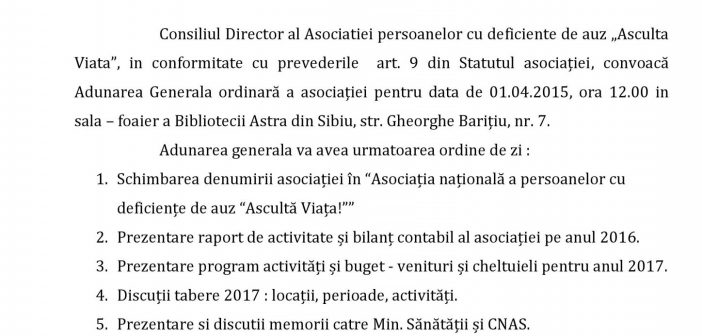 Adunarea Generală a Asociației Ascultă Viața – Sibiu, 01.04.2017